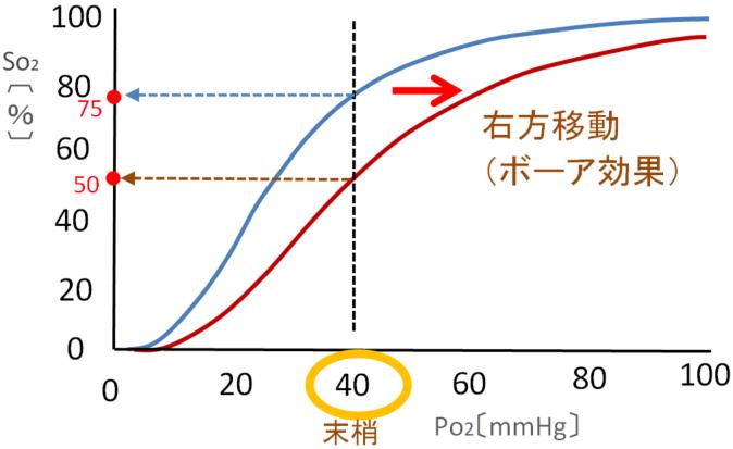 右方変位の酸素飽和度